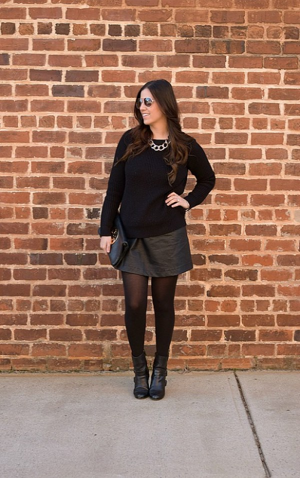 Black Sweater and Black Faux Leather Skirt worn by Jaime Cittadino of Sunflowers and Stilettos fashion blog