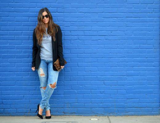 tee with blazer, distressed jeans, boyfriend jeans,