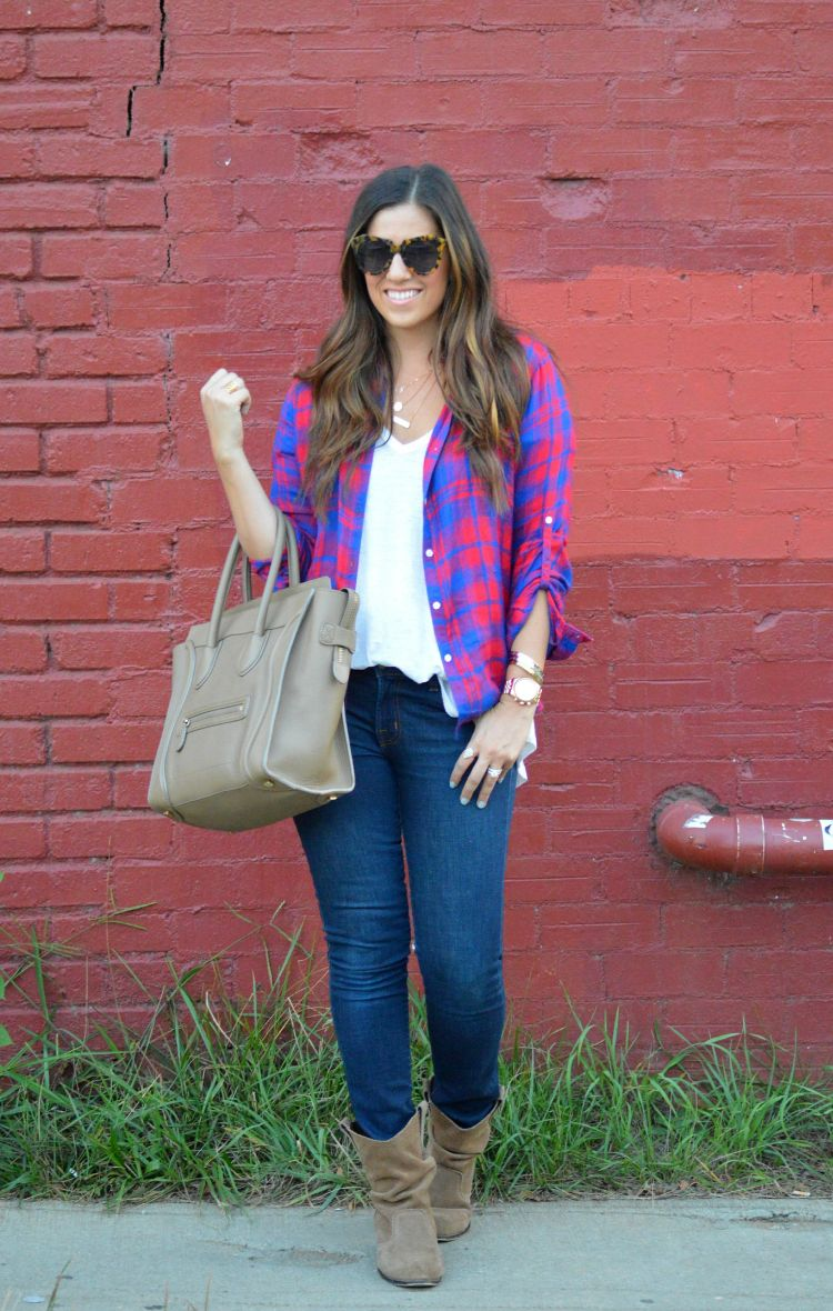 plaid shirt with skinny jeans