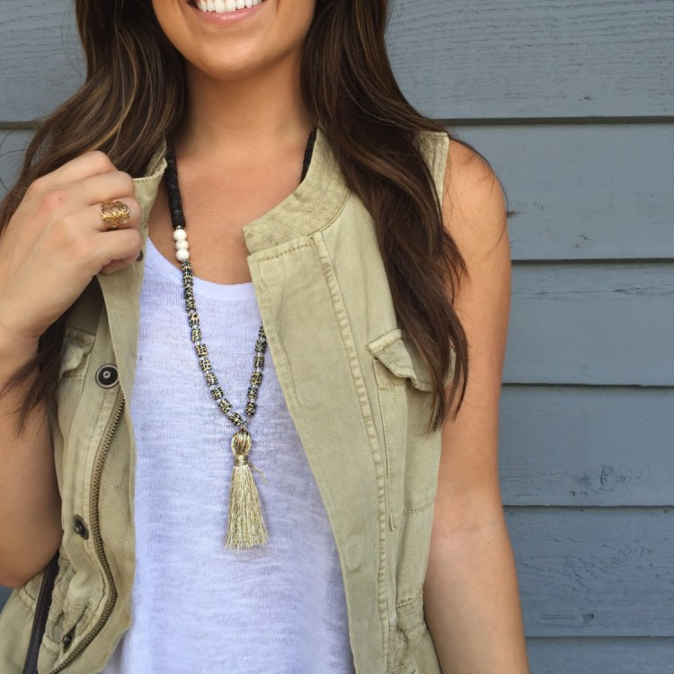 how to make a beaded tassel necklace, DIY beaded tassel necklace