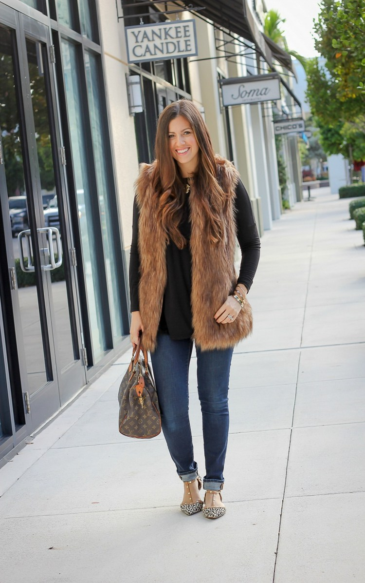 faux fur vest, skinny jeans, Jaime Cittadino, Sunflowers and Stilettos