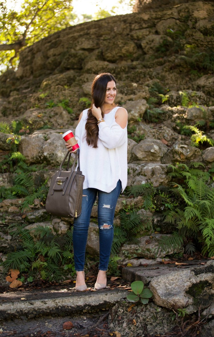 cute fall style, She Inside off shoulder sweater