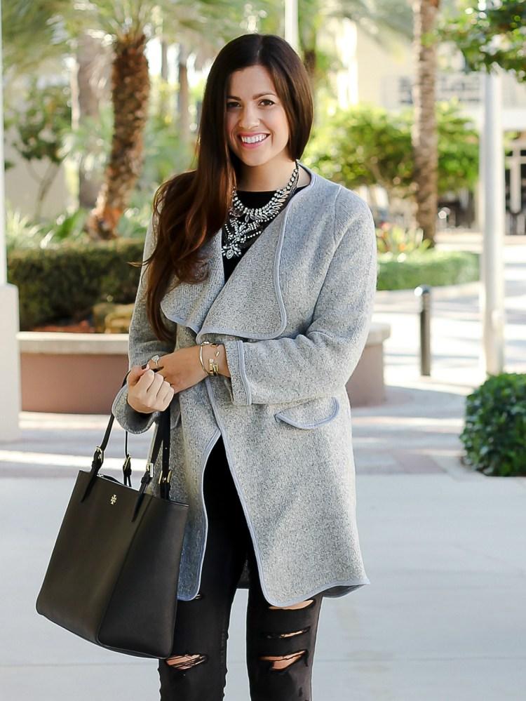 grey lapel sweater coat