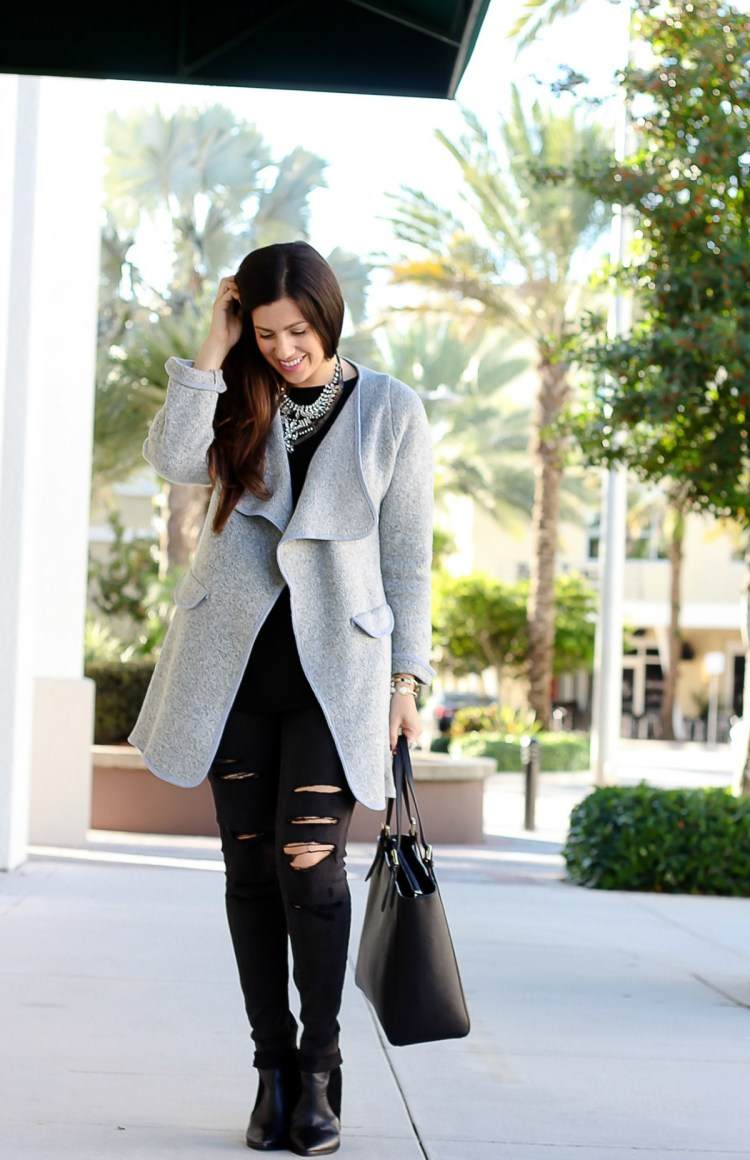 grey and black outfit for winter, grey sweater coat, Jaime Cittadino, Sunflowers and Stilettos