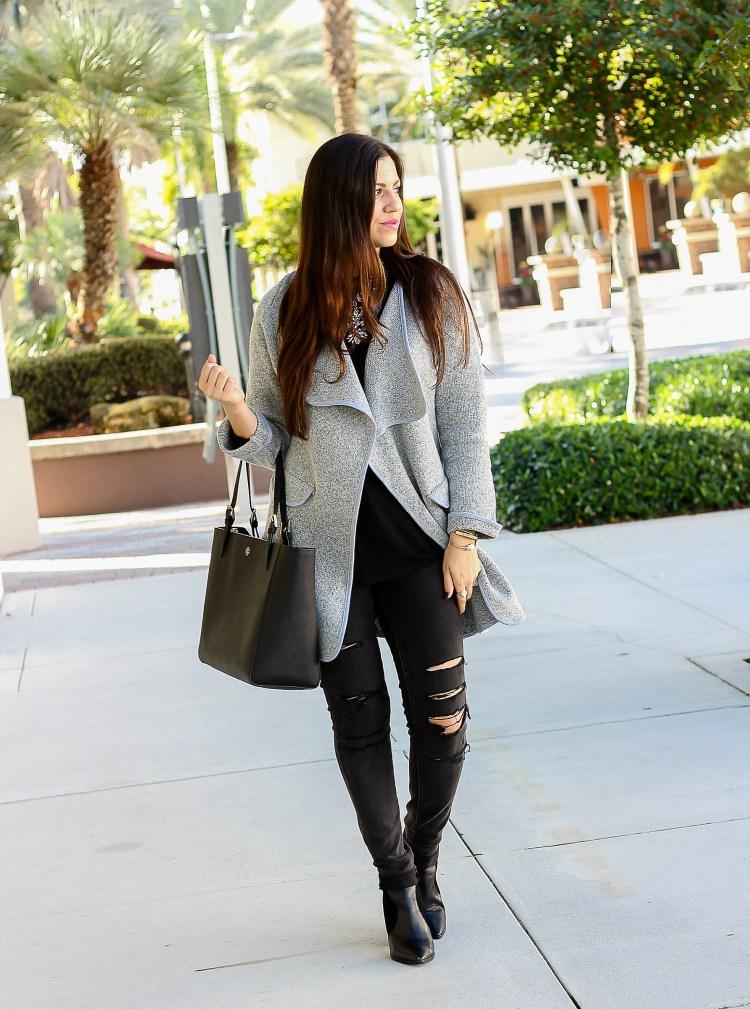 oversized sweater jacket, black distressed jeans