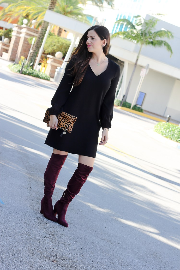 what to wear with red over the knee boots