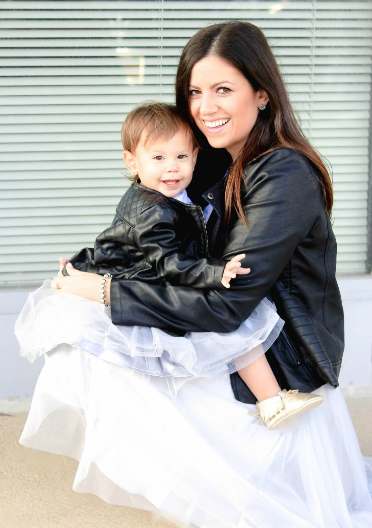 mommy and me fashion, mother daughter matching clothes, baby girl faux leather jacket, Sunflowers and Stilettos blog