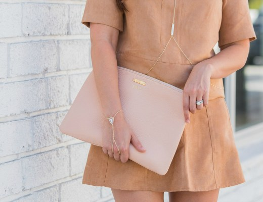 tan suede skirt set
