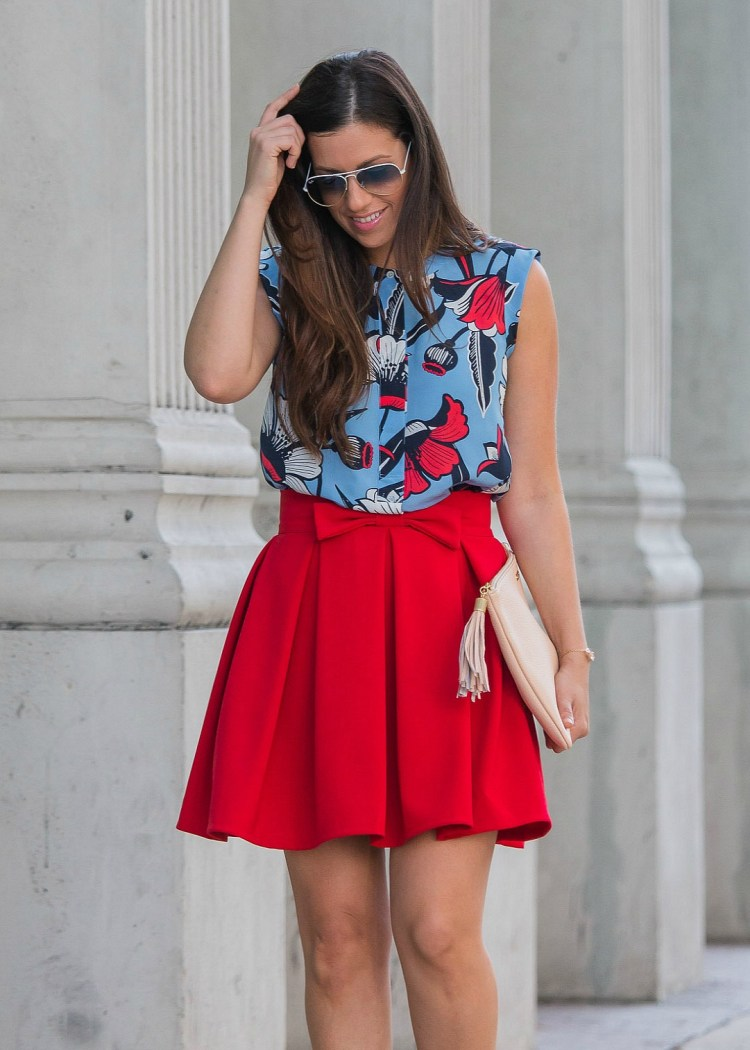 red skirt with bow, chicwish skirt