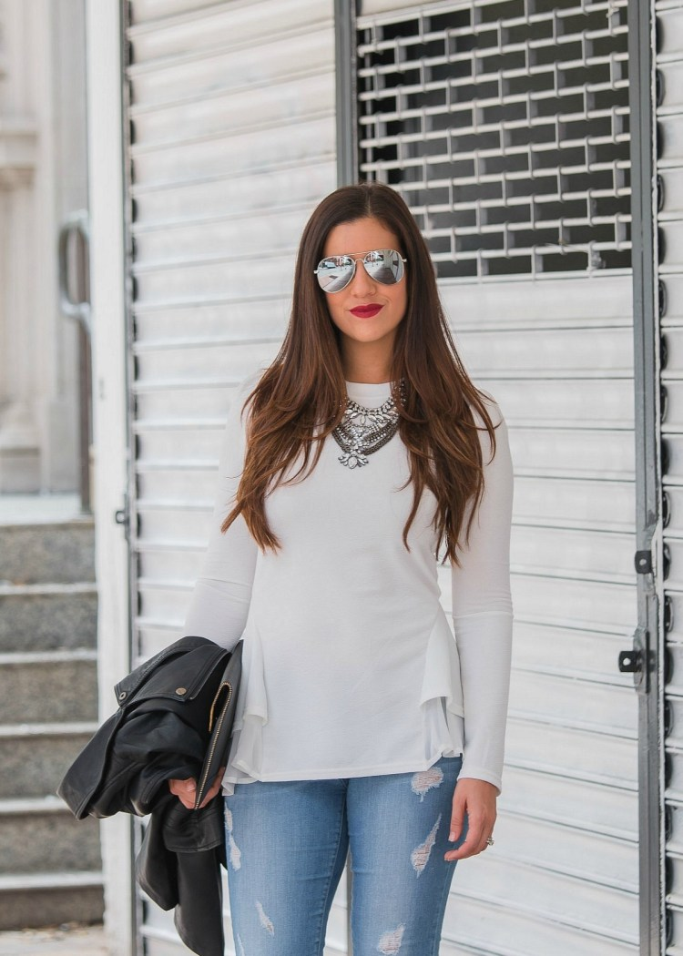 white peplum top, long sleeve peplum top