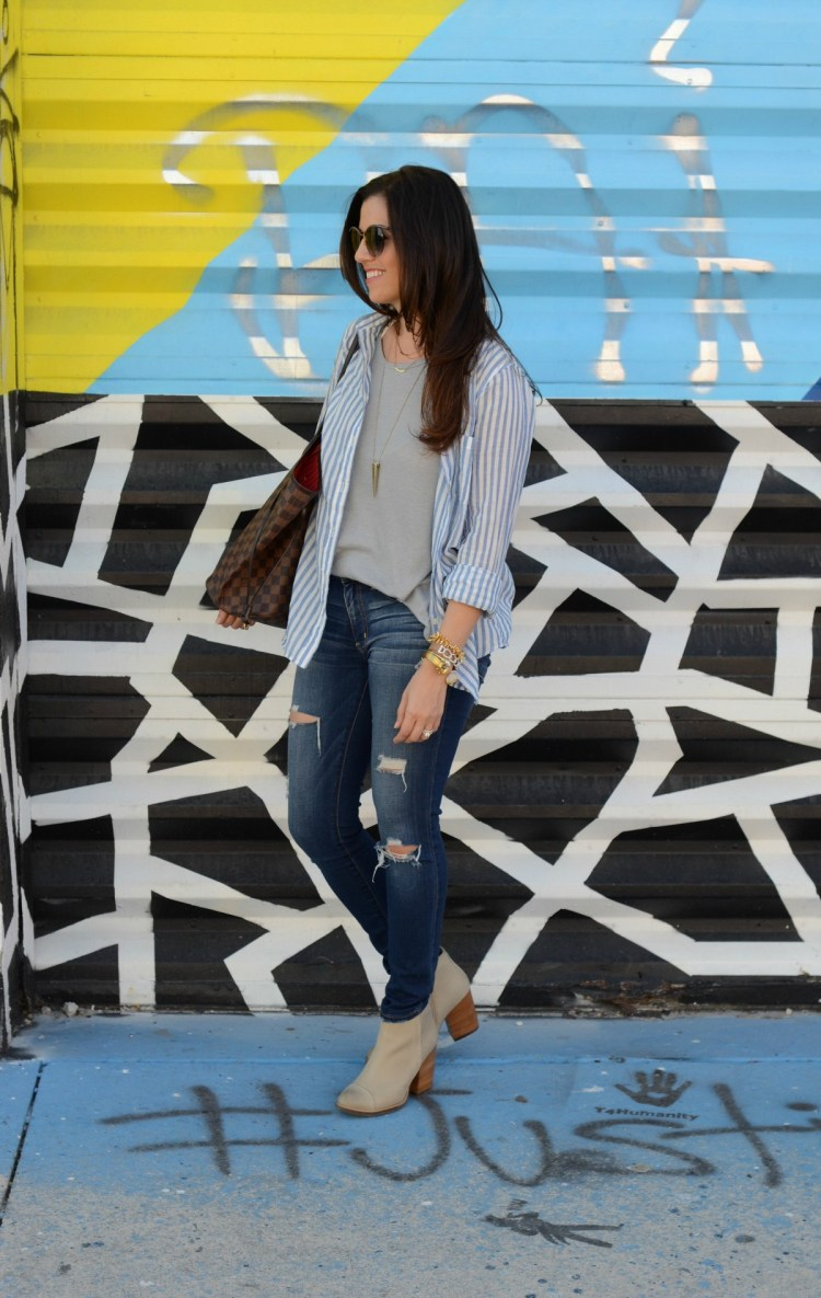 american eagle distressed denim, taupe booties