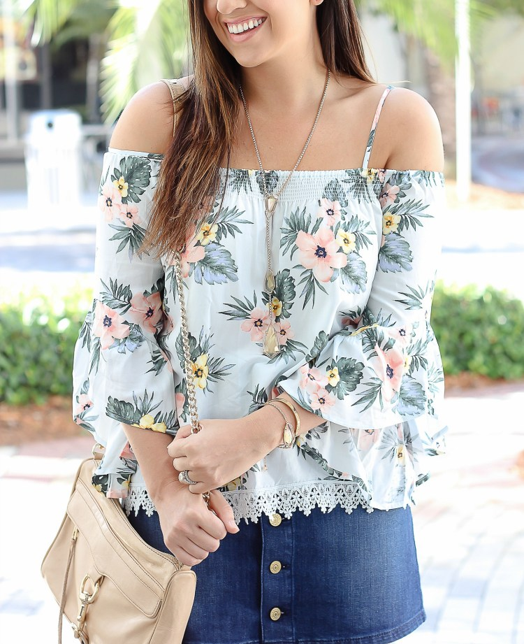 best off shoulder top, Florida Fashion blog, tropical vacation attire