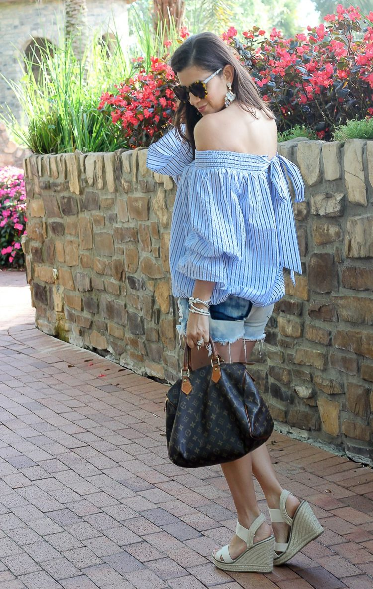 Pastel Blue Stripes Off-shoulder Top with Bowknot