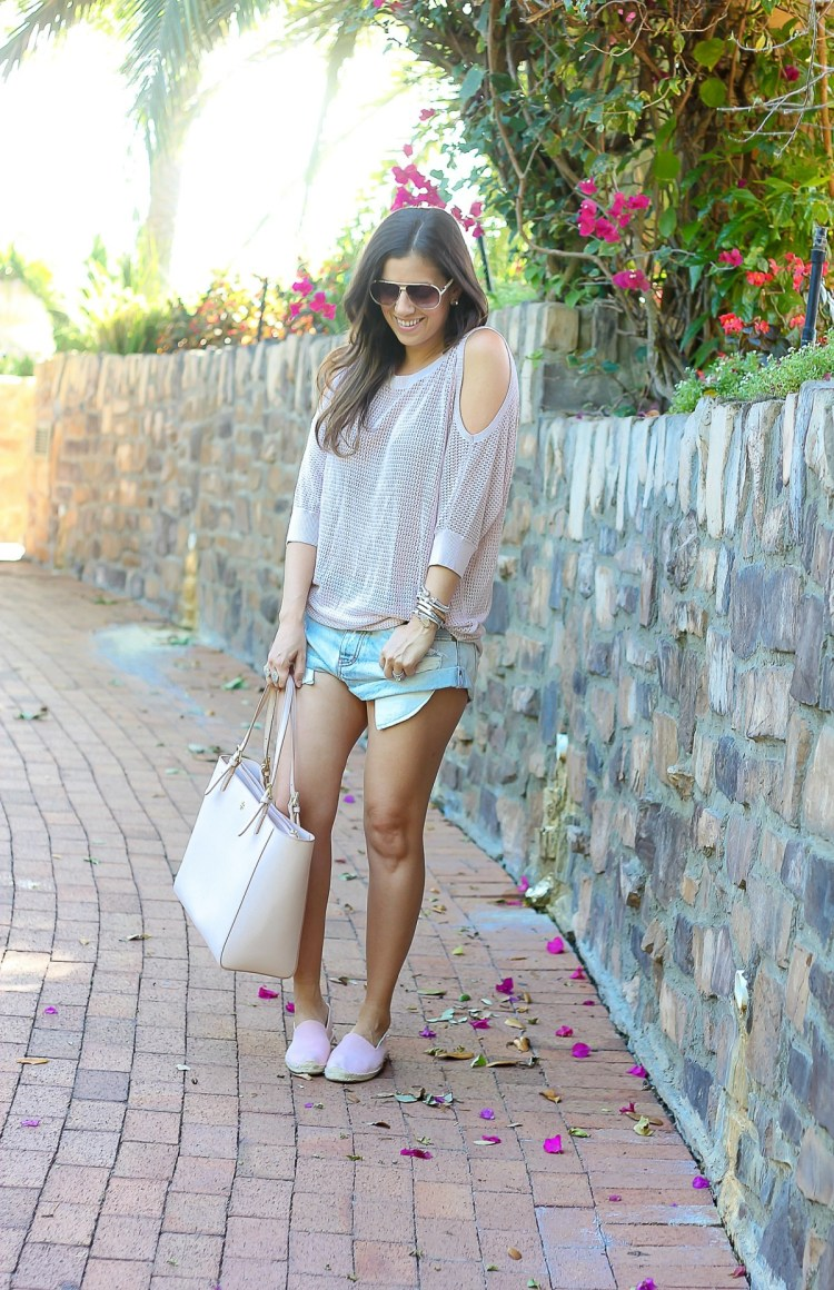 one teaspoon denim shorts, soludos, express cold shoulder sweater