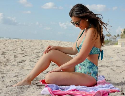 leaf print swimsuit, Miami fashion blogger