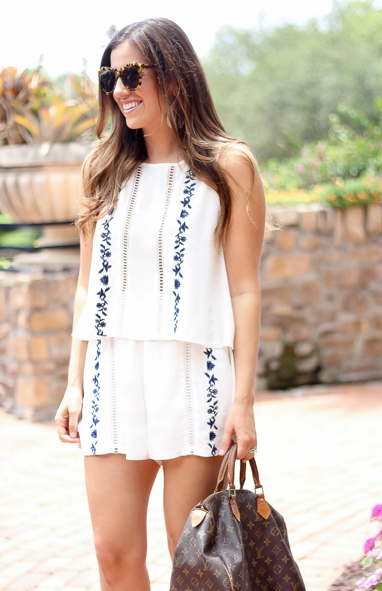 white with blue embroidered short set