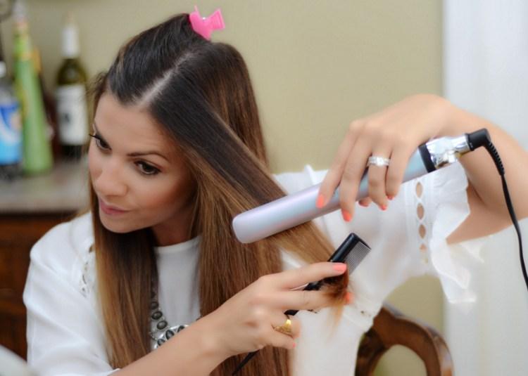 ghd platinum styler straight hair tutorial, beauty blogger, straight hair tutorial
