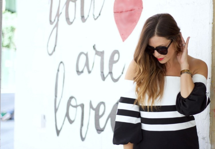 black white off shoulder striped top, you are loved wall NYC