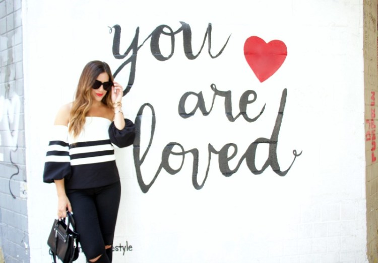 black white striped chicwish top, You are loved wall NYC