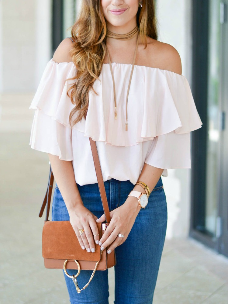 South Florida fashion blogger Jaime Cittadino of Sunflowers and Stilettos wearing an off shoulder top by Chicwish and paired with a Baublebar choker necklace