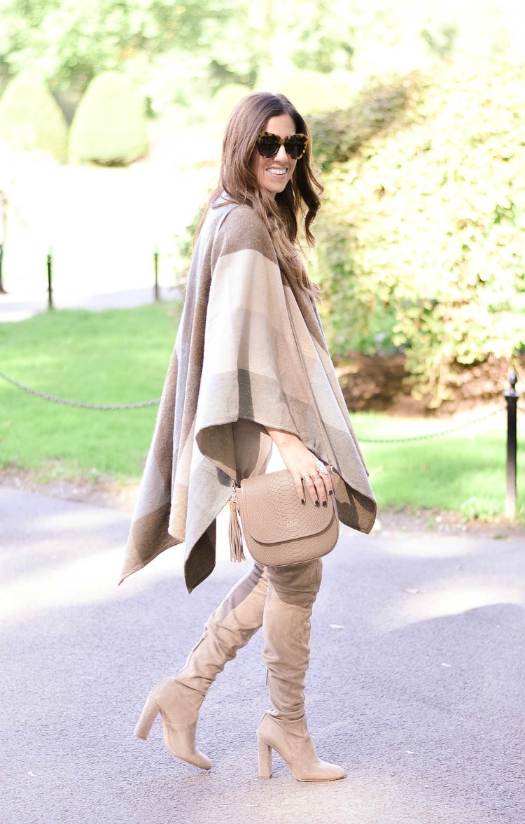 Nordstrom Check Cape, White Jeans, Over The Knee Boots