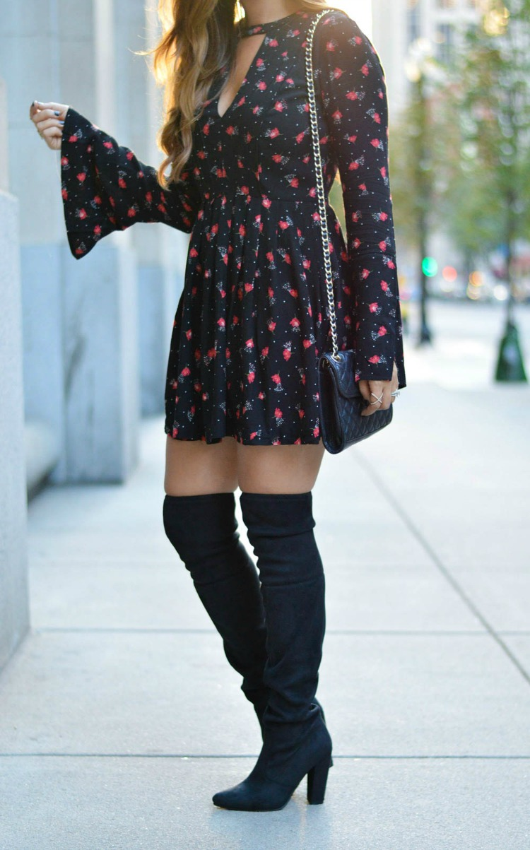 Free People Tegan Printed Mini Dress paired with Over The Knee Boots for a date night look
