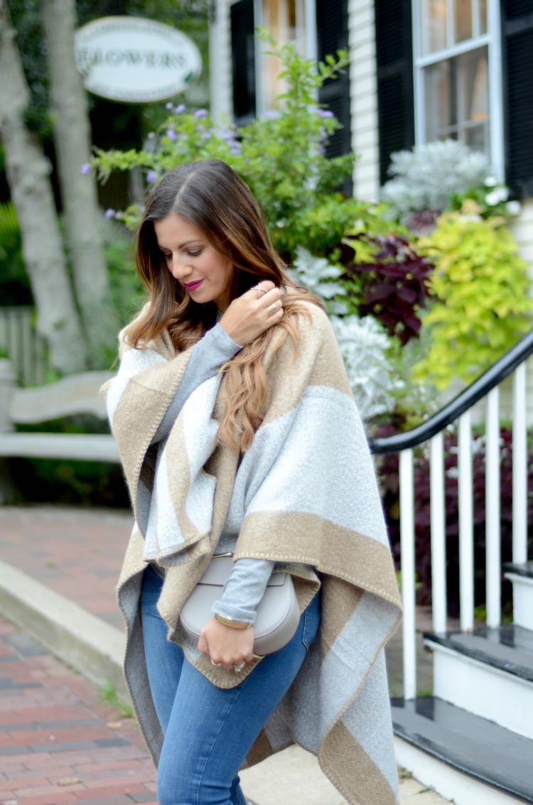 ILY Couture Cape, Camel and Grey Stripe Cape