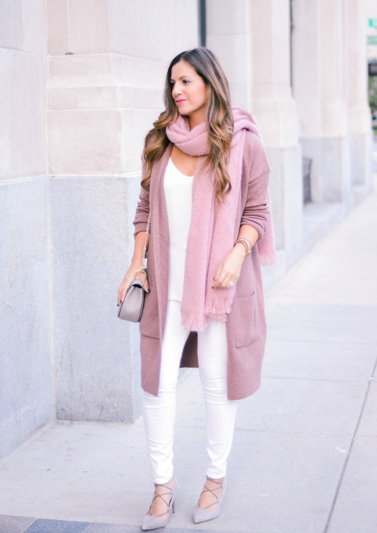 Sole Society Madeline Heels, Forever 21 Mauve Cardigan, ASOS pink scarf