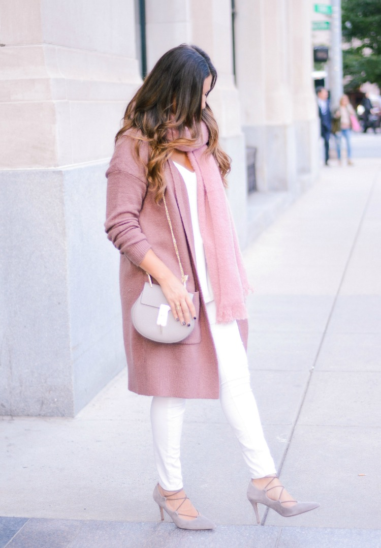 long mauve cardigan Forever 21, pink and white outfit for fall