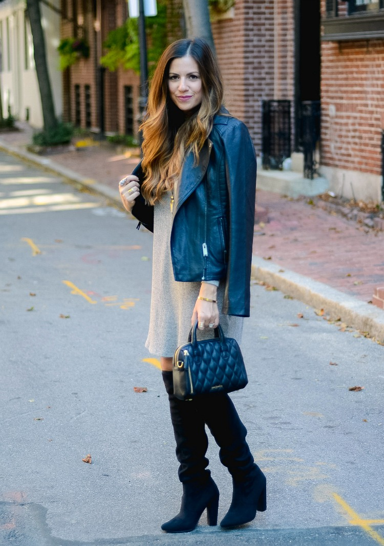 Cold Shoulder Dress, Biker Jacket, OTK Boots by Fashion Blogger, Jaime Cittadino of Sunflowers and Stilettos