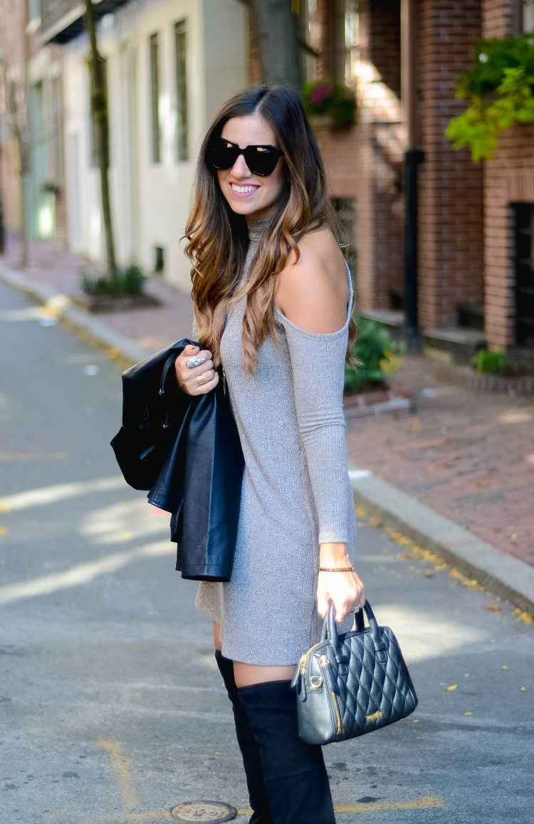 Cold Shoulder Mock Turtleneck Dress