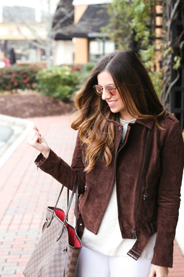 Brown Suede Moto Jacket, Ray Ban Sunglasses