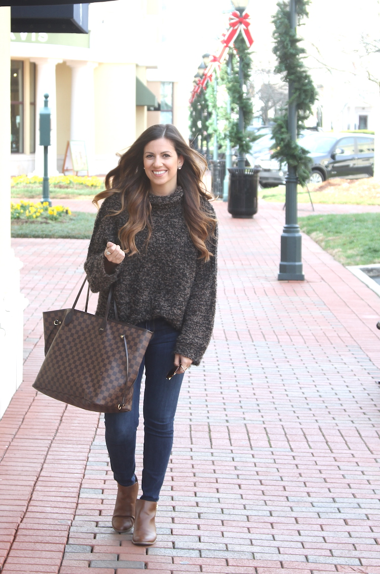 Free People She's All That Knit Turtleneck Sweater, Louis Vuitton Neverfull Bag, Jaime Cittadino of Sunflowers and Stilettos fashion and lifestyle blog