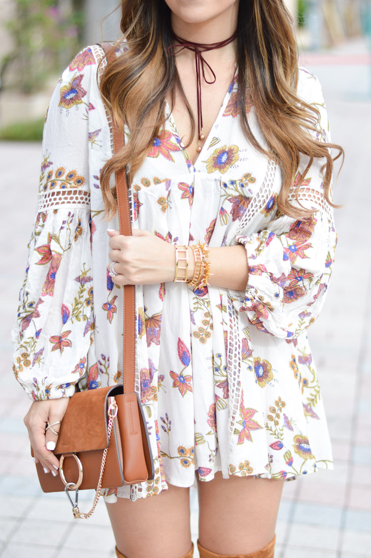 Free People JUST THE TWO OF US FLORAL TUNIC
