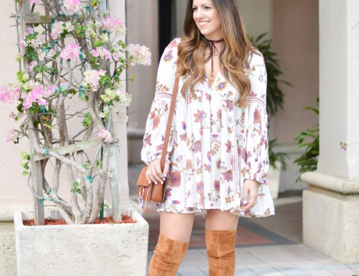 Free People JUST THE TWO OF US PRINTED DRESS worn by fashion blogger, Jaime Cittadino of Sunflowers and Stilettos