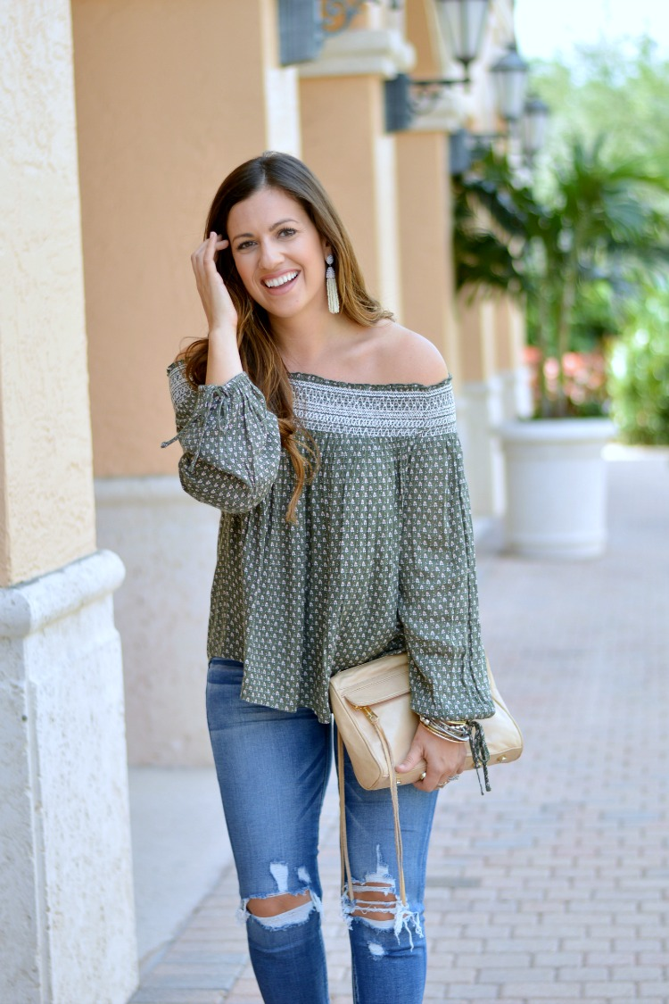 Abercrombie Off Shoulder Top worn by Jaime Cittadino, Sunflowers and Stilettos, Olive Off Shoulder Top