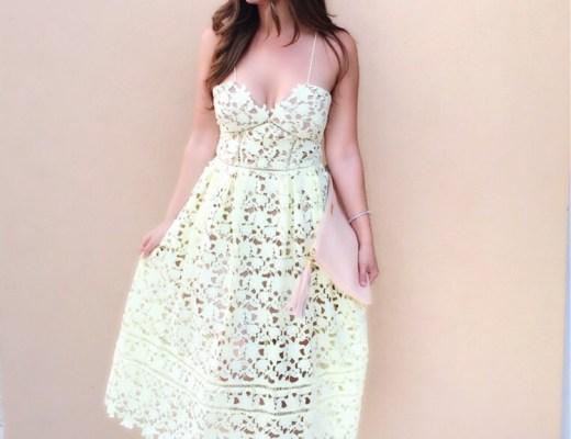 Self Portrait Azalea dress in baby yellow // Sunflowers and Stilettos Fashion Blog