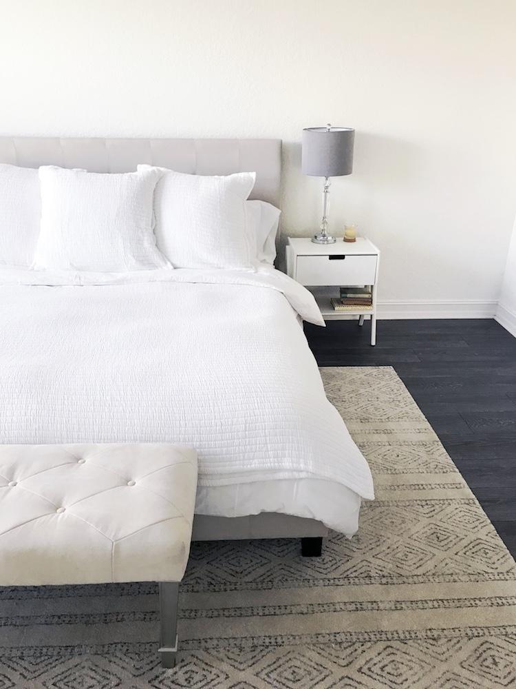 Clean & Modern Master Bedroom, Benjamin Moore Cotton Balls Paint, Modern Area Rug for Master Bedroom