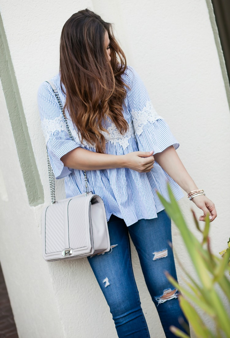 Chicwish blue white dolly top, Rebecca Minkoff geo bag