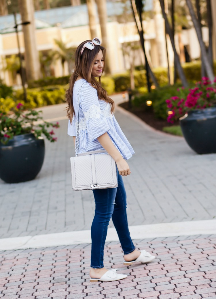 Chicwish blue white stripe dolly top