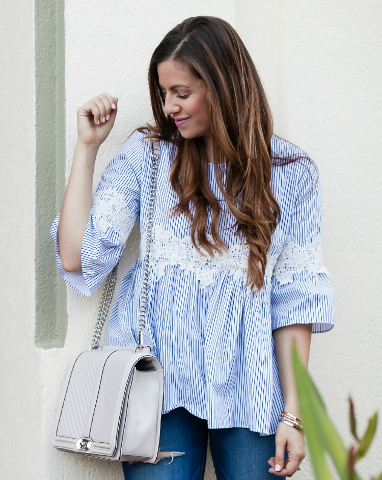 blue white stripe dolly top with embroidered detail