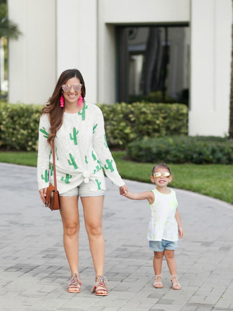 Women's Cactus Sweater, Toddler Girl Pineapple Top, Tassel Earrings, Toddler Ray-Bans