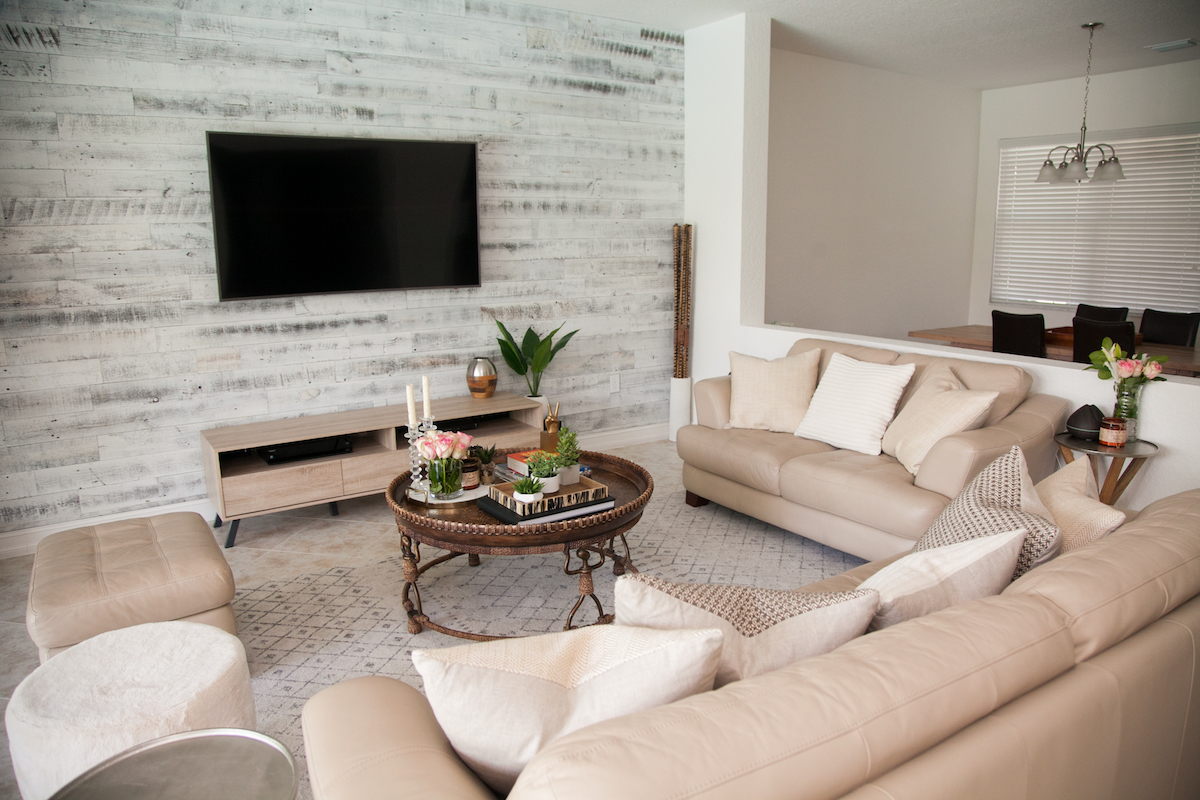 Transitional Living Room - Stikwood Accent Wall ... on Decorative Wall Sconces For Living Room Ideas id=70669