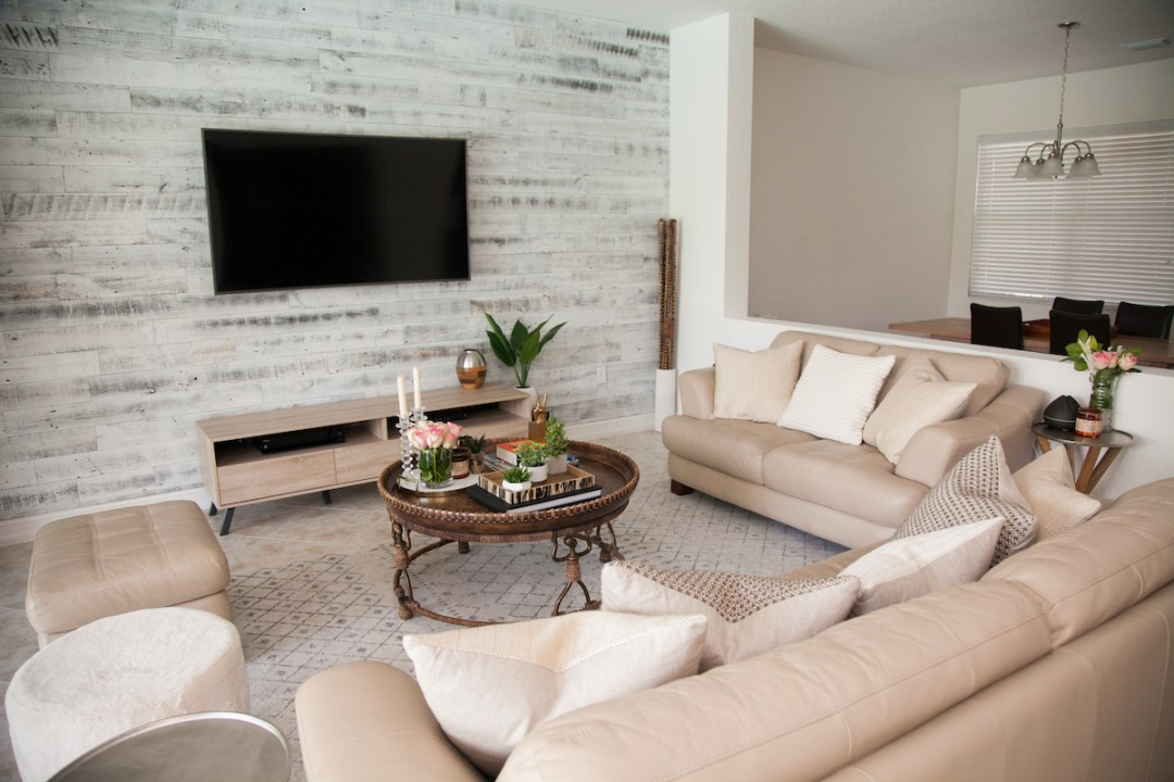 Transitional Living Room - Stikwood Accent Wall - Sunflowers ...