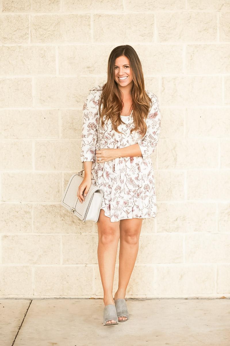 Summer to Fall dress, babydoll dress, bump friendly dress