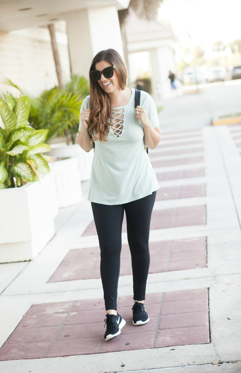 Criss Cross Front Tee _ Lace Up Tee _ Athleisure Style