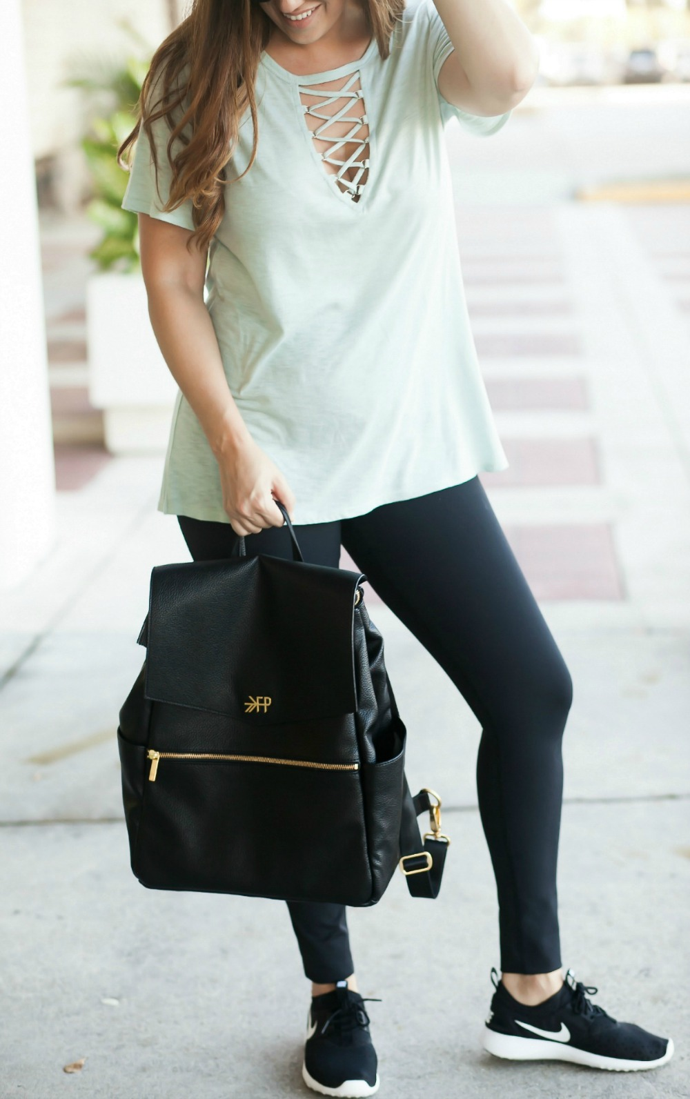 Lace-Up Tee _ Freshly Picked Diaper Bag _ High Waist Leggings