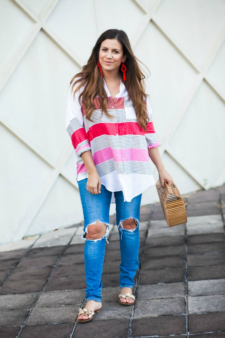 oversized button down shirt _Anthropologie striped button-down_Levi's distressed jeans