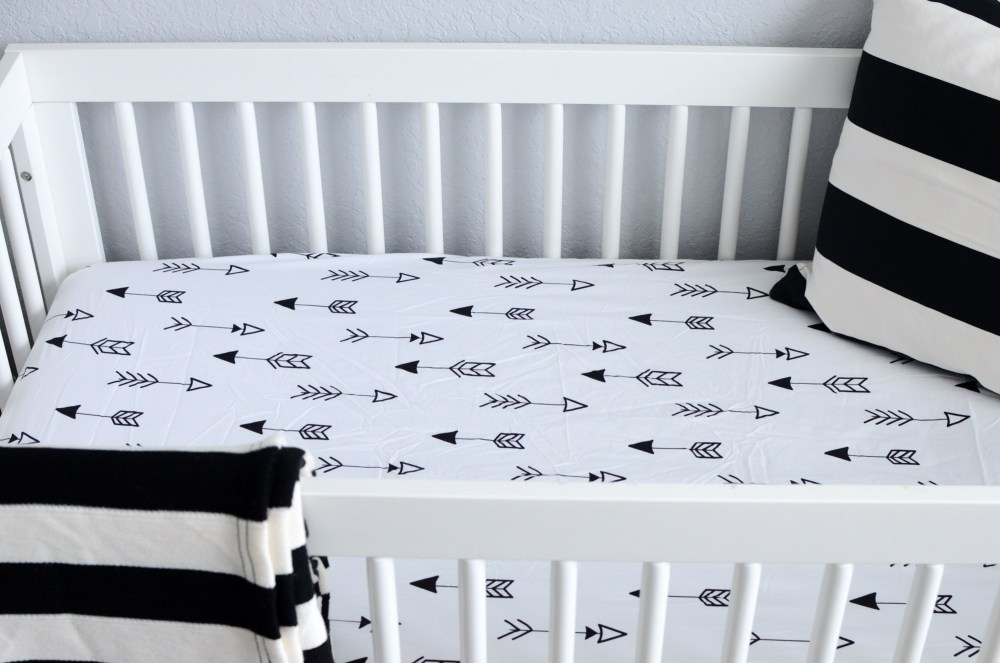 black white nursery, black white crib sheet