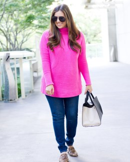 Bright Pink Sweater + Leopard Flats worn by Jaime Cittadino _ Sunflowers and Stilettos style blog